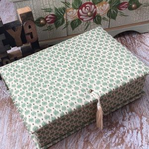 Jewelry Box Covered In Cream w/ Sage Print Fabric